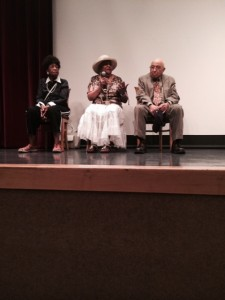 THE film Stars: (L to R) Jean  Turner, Ollie Stewart, William McAllister field questions from the interested audience.