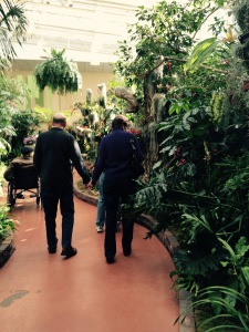 Care Partners, hand in hand, leave the Orchid Show today.