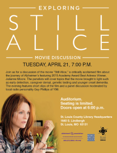 "Exploring ""Still Alice"" Film Discussion flyer"